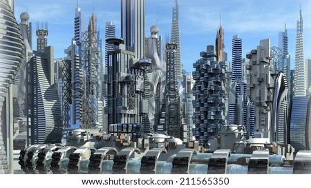 Science fiction city with glass, metallic structures for futuristic or fantasy backgrounds - stock photo