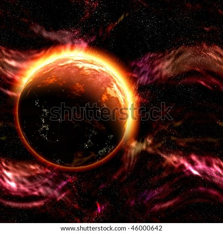 Science fiction cosmic planet complex space scene illustration