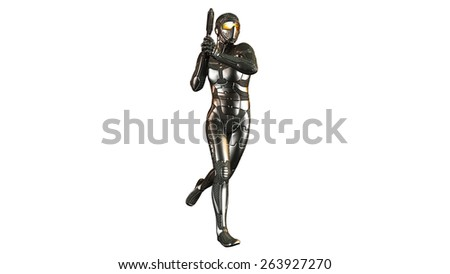 Science fiction futuristic soldier holding a gun in armor, isolated on white background - stock photo