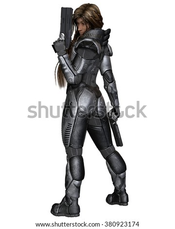 Science fiction illustration of a black female future soldier in protective armoured space suit, standing holding pistols, back view, 3d digitally rendered illustration