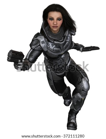 Science fiction illustration of a brunette female future soldier in protective armoured space suit, running forward, 3d digitally rendered illustration