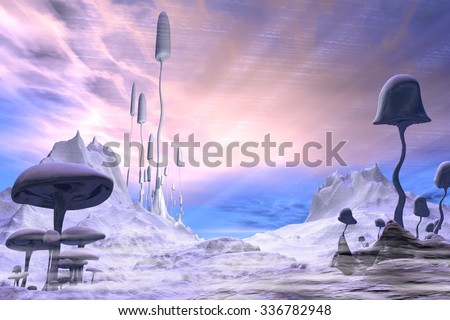 Science fiction illustration of a frozen alien landscape with dramatic blue and pink sky and giant ice covered mushrooms or toadstools, 3d digitally rendered illustration - stock photo