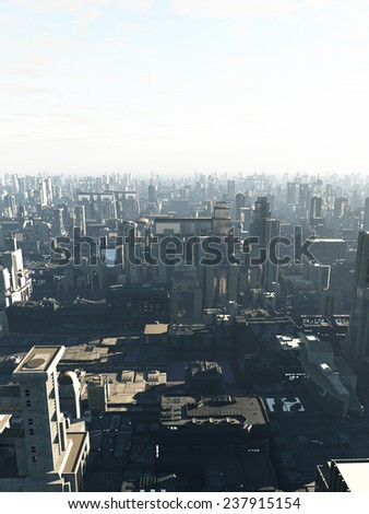 Science fiction illustration of a future city in early morning mist, copy space in sky, 3d digitally rendered illustration - stock photo