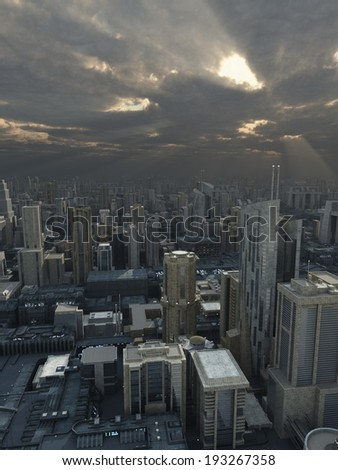 Science fiction illustration of a future city with storm clouds passing overhead and rays of sunshine, 3d digitally rendered illustration - stock photo