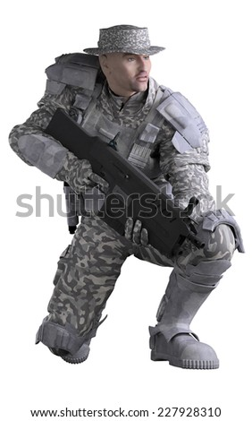Science fiction illustration of a future marine ranger soldier wearing urban camouflage and carrying a rifle, crouching down, 3d digitally rendered illustration - stock photo