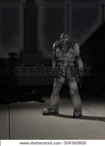 Science fiction illustration of a future space marine assassin standing by the body of his victim, 3d digitally rendered illustration - stock photo