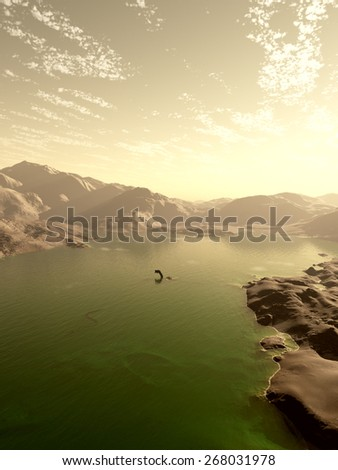 Science fiction illustration of a green acid ocean on an alien world with strange sea creatures, 3d digitally rendered illustration - stock photo