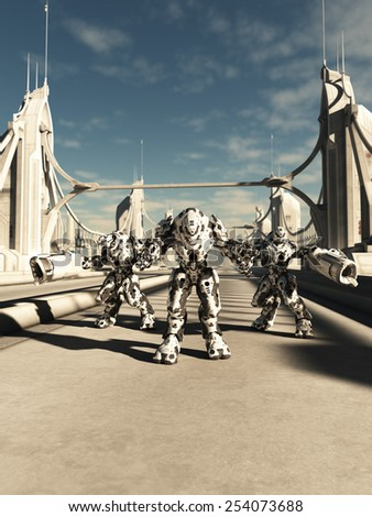 Science fiction illustration of a group of alien battle robots defending a bridge, 3d digitally rendered illustration - stock photo