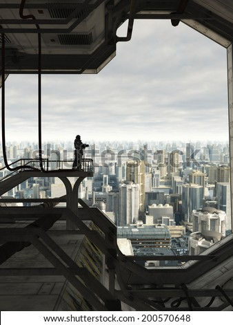Science fiction illustration of a lone Space Marine guard watching over the skyline of a future city, 3d digitally rendered illustration - stock photo