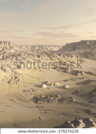 Science fiction illustration of a research post on an alien desert planet, 3d digitally rendered illustration
