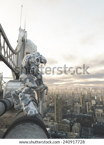 Science fiction illustration of a robot sentinel standing guard on a bridge over a future city, 3d digitally rendered illustration - stock photo