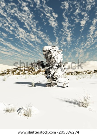 Science fiction illustration of a space marine trooper on patrol in a snow covered wilderness, 3d digitally rendered illustration - stock photo