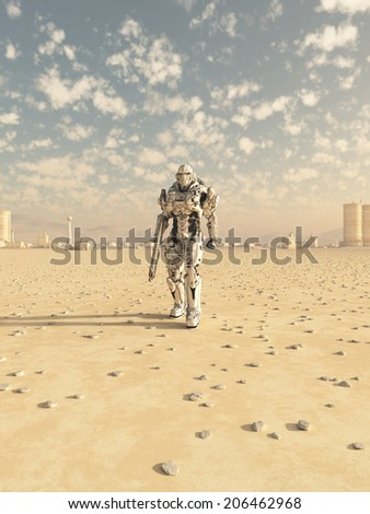 Science fiction illustration of a space marine trooper on patrol in the desert outside a future city, 3d digitally rendered illustration - stock photo