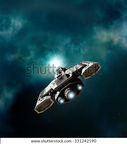 Science fiction illustration of a spaceship about to enter a wormhole in deep space, 3d digitally rendered illustration - stock photo