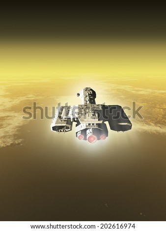 Science fiction illustration of a spaceship inside the atmosphere of an alien planet, 3d digitally rendered illustration - stock photo