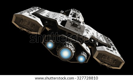 Science fiction illustration of a spaceship isolated on a black background with blue engine glow, back view, 3d digitally rendered illustration - stock photo