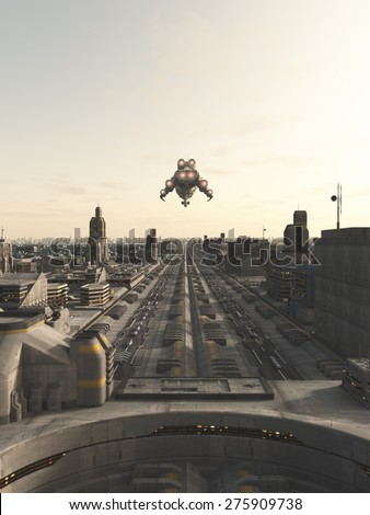 Science fiction illustration of a spaceship on its final approach to landing in a future city, 3d digitally rendered illustration - stock photo