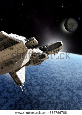 Science fiction illustration of a spaceship passing near to the frozen surface of an ice planet, 3d digitally rendered illustration