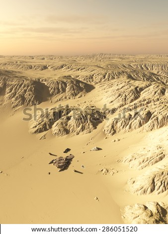 Science fiction illustration of a wind scoured spaceship crash site on a lonely desert planet, 3d digitally rendered illustration - stock photo