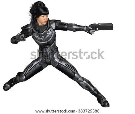 Science fiction illustration of an Asian female future soldier in protective armoured space suit, fighting with two pistols, 3d digitally rendered illustration