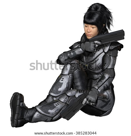 Science fiction illustration of an Asian female future soldier in protective armoured space suit, sitting and holding two pistols, 3d digitally rendered illustration
