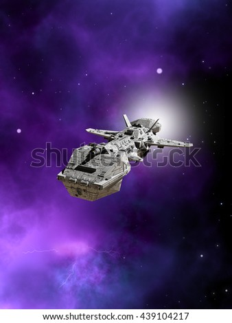 Science fiction illustration of an interplanetary spaceship flying away from a purple nebula in deep space, digital illustration (3d rendering)