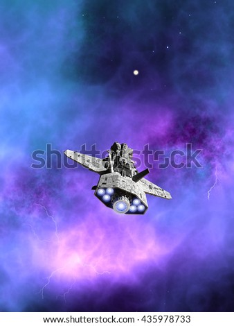 Science fiction illustration of an interplanetary spaceship flying towards a purple nebula in deep space, digital illustration (3d rendering)