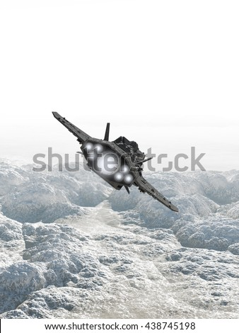 Science fiction illustration of an interplanetary spaceship in the atmosphere flying low over the rocky surface of an alien planet, digital illustration (3d rendering) - stock photo