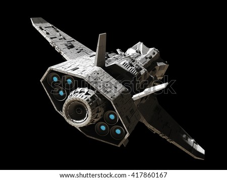 Science fiction illustration of an interplanetary spaceship, isolated on black, rear angled view with blue engine glow, digital illustration (3d rendering)