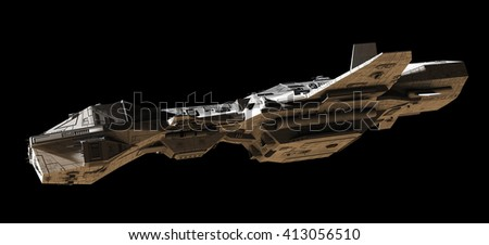 Science fiction illustration of an interplanetary spaceship, isolated on black, side view with low lighting, digital illustration (3d rendering)