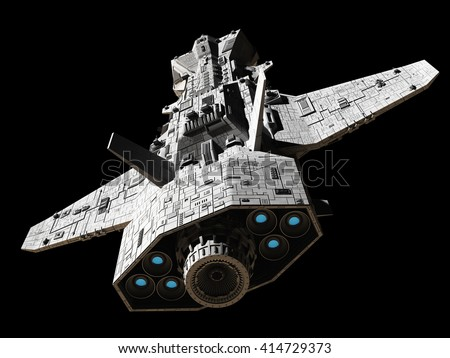 Science fiction illustration of an interplanetary spaceship, isolated on black, top rear view with blue engine glow, digital illustration (3d rendering)