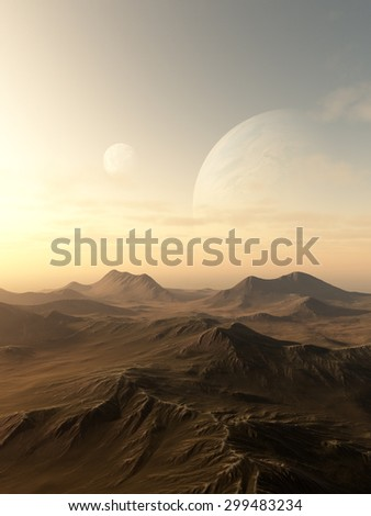 Science fiction illustration of planets rising over the horizon of a desolate alien world, 3d digitally rendered illustration