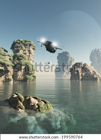Science fiction illustration of scout patrol ships flying through sea stacks on an alien world, 3d digitally rendered illustration - stock photo
