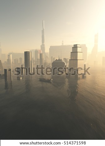 Science fiction illustration of the a future city drowned by rising sea level, viewed across a misty sea, digital illustration (3d rendering)