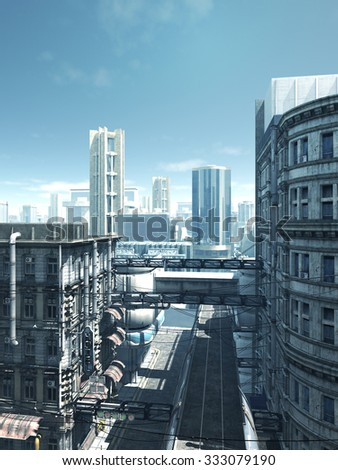 Science fiction illustration of the empty deserted streets of a future city, 3d digitally rendered illustration - stock photo