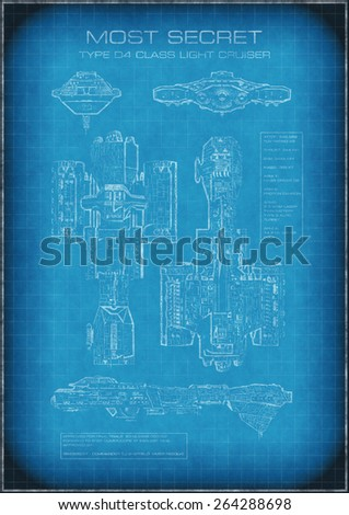 Science fiction illustration of top secret spaceship blueprint with designs and text, 3d digitally rendered illustration - stock photo