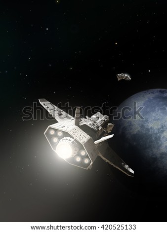 Science fiction illustration of two spaceships about to pass on the approach to an alien planet, digital illustration (3d rendering)