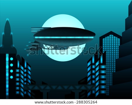 Science fiction illustration. Zeppelin in front of urban landscape - stock photo