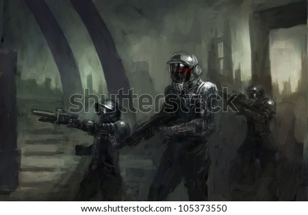 science fiction marines in war - stock photo