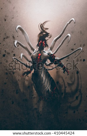 science fiction robot character,illustration digital painting - stock photo