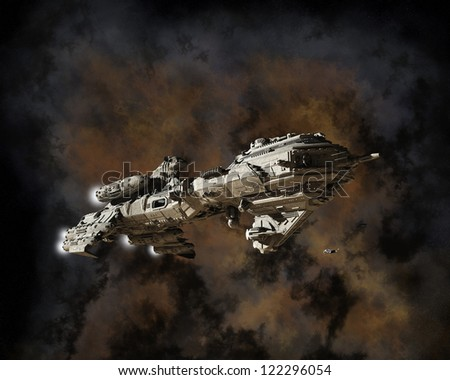 Science fiction scene of a futuristic interstellar escort frigate with nebula background, 3d digitally rendered illustration