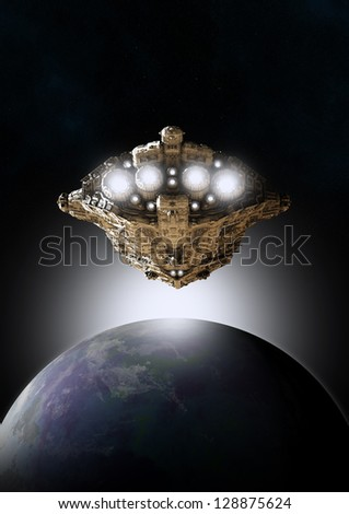 Science fiction scene of a spaceship approaching an earthlike planet with the sun rising behind, 3d digitally rendered illustration - stock photo
