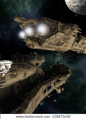 Science fiction scene of giant space battle cruisers, 3d digitally rendered illustration - stock photo