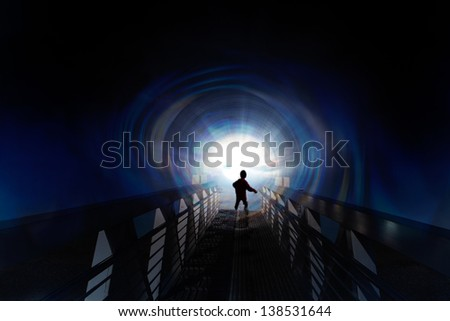 Science fiction scene with a child entering an alien spaceship.