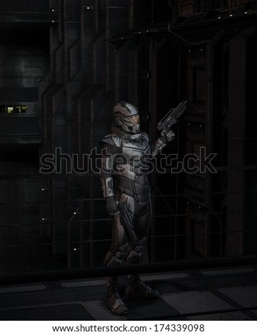 Science Fiction soldier in the dark future city streets at night, 3d digitally rendered illustration