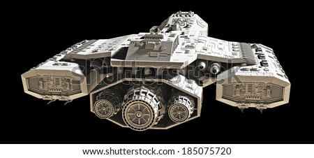Science fiction spaceship isolated on a black background, back view, 3d digitally rendered illustration - stock photo