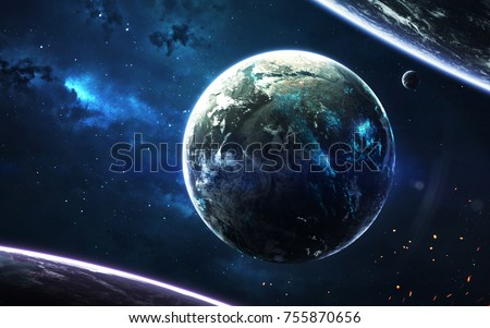 Science Fiction Wallpaper Planetary System Thousands Light Years Far Away From Earth Elements Of