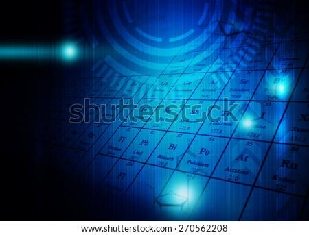 Science formula & Molecules on technology background - stock photo