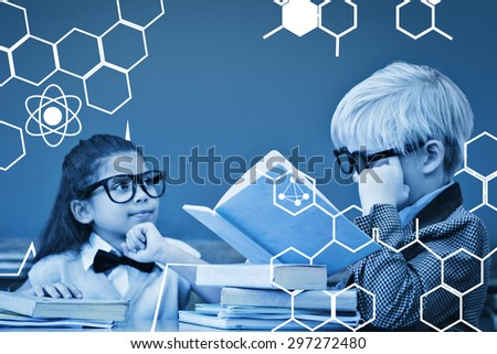 Science graphic against cute pupils dressed up as teachers in classroom - stock photo
