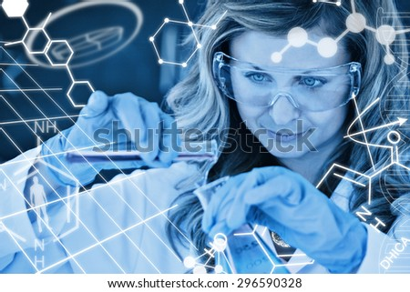 Science graphic against female scientist conducting an experiment - stock photo
